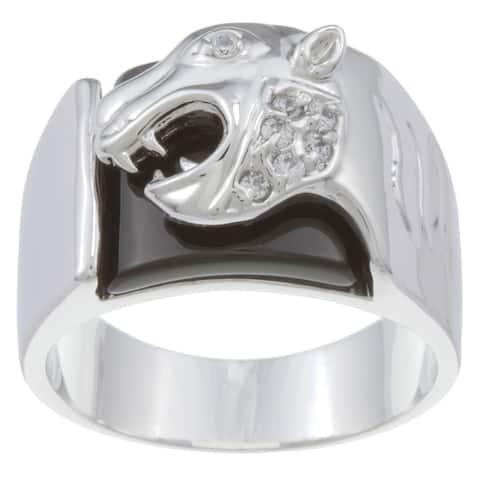 Kate Bissett Silvertone Men's Black Onyx and Cubic Zirconia Jaguar Ring