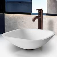 VIGO Marie Phoenix Stone Vessel Bathroom Sink Set With Seville Vessel Faucet In Oil Rubbed Bronze