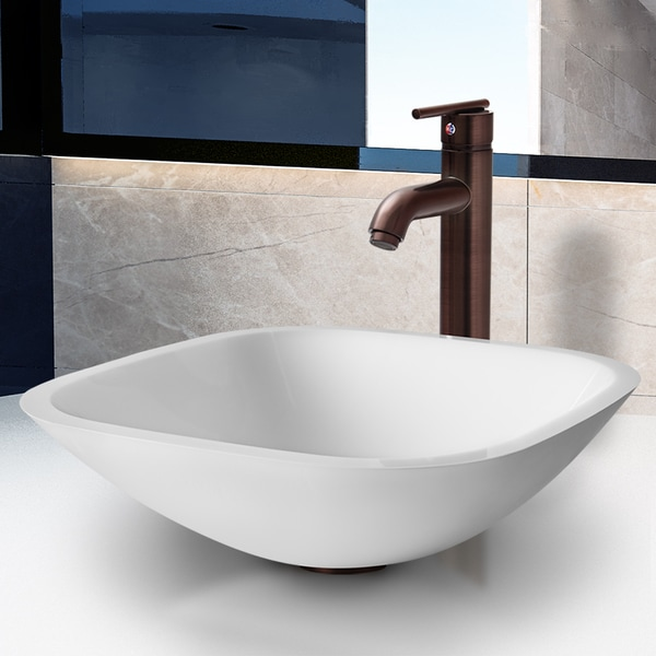 VIGO Marie Phoenix Stone Vessel Bathroom Sink Set With Seville Vessel Faucet In Oil Rubbed Bronze