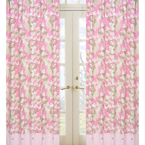 Sweet Jojo Designs Ivory, Khaki, and Pink 84-inch Window Treatment Curtain Panel Pair for Military Camoflauge Collection