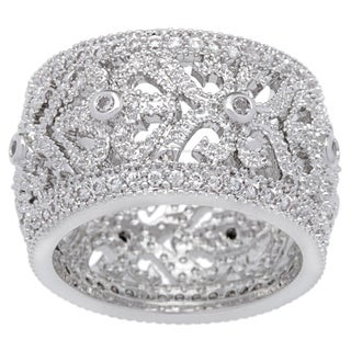Link to Kate Bissett Silvertone Filigree Clear Cubic Zirconia Vintage Eternity Band Similar Items in Rings