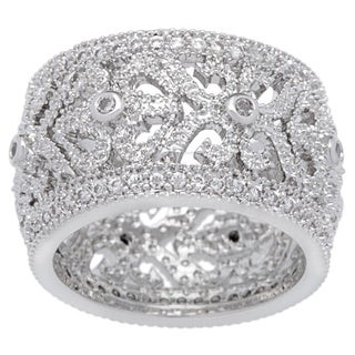 Kate Bissett Silvertone Filigree Clear Cubic Zirconia Vintage Eternity Band