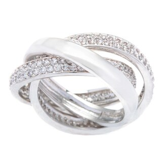 Kate Bissett Silvertone Interlocking Clear Pave Cubic Zirconia Eternity Bands