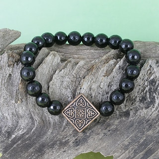 Handmade Faceted Onyx Beads with Copper Stretch Charm Bracelet