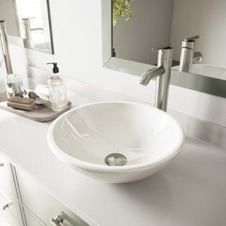 VIGO White Phoenix Stone Vessel Sink and Seville Brushed Nickel Faucet