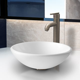 VIGO White Phoenix Stone Vessel Sink with Seville Faucet in Brushed Nickel