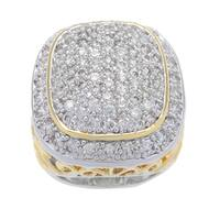Kate Bissett Silvertone and Gold Overlay Pave-set Clear Cubic Zirconia Cocktail Ring