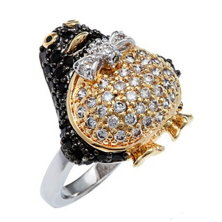Kate Bissett Tritone Silvertone Hematite and 14k Gold Overlay Cubic Zirconia Penguin Animal Ring