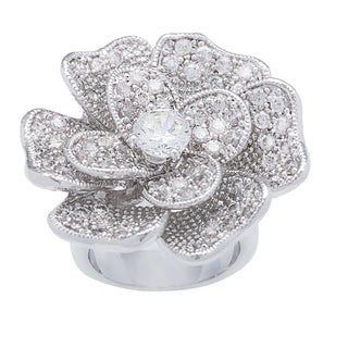 Kate Bissett Silvertone Floral Cubic Zirconia Bouquet Fashion Ring (More options available)