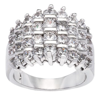 Kate Bissett Silvertone Graduated Channel Set Cubic Zirconia Fashion Ring