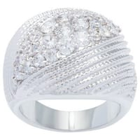 Kate Bissett Silvertone Pave Cubic Zirconia Cocktail Ring