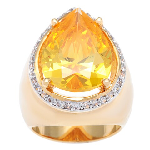 Kate Bissett 14k Gold Overlay Canary Pear Cubic Zirconia Cocktail Ring