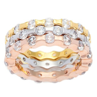 Kate Bissett Tritone Silvertone Gold and Rose Gold Overlay Cubic Zirconia Stackable Eternity Bands