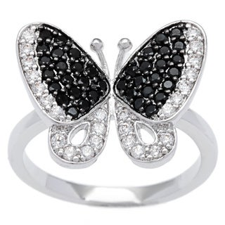 Kate Bissett Silvertone Clear and Onyx Pave Cubic Zirconia Butterfly Cocktail Ring