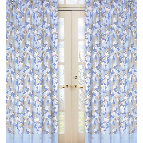 Sweet Jojo Designs Ivory, Khaki, and Blue 84-inch Window Treatment Curtain Panel Pair for Military Camoflauge Collection