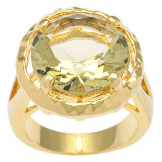 Kate Bissett 14k Gold Overlay Canary Yellow Cubic Zirconia Solitaire Ring