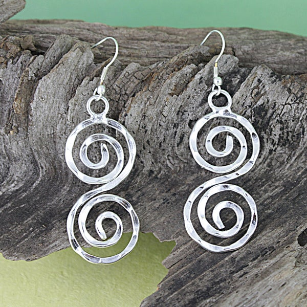 Silver Plated Swirl Dangle Earrings (India)