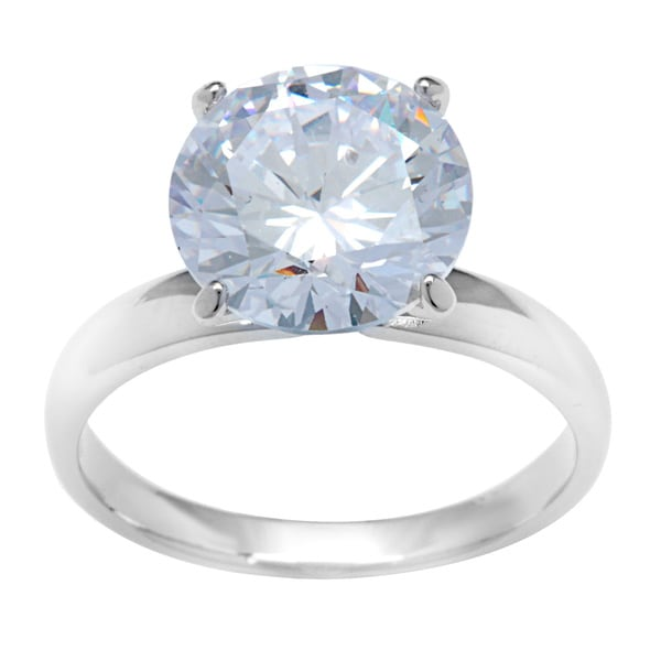 Kate Bissett Rhodium-plated Sterling Silver Cubic Zirconia Solitaire Cocktail Ring