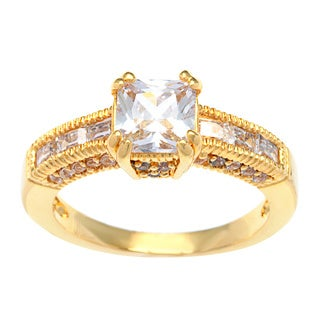 Kate Bissett 14k Gold Overlay Princess Cut Cubic Zirconia Fashion Ring