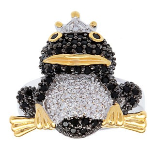 Kate Bissett Silvertone 14k Gold Overlay Pave-set Cubic Zirconia Frog Animal Ring