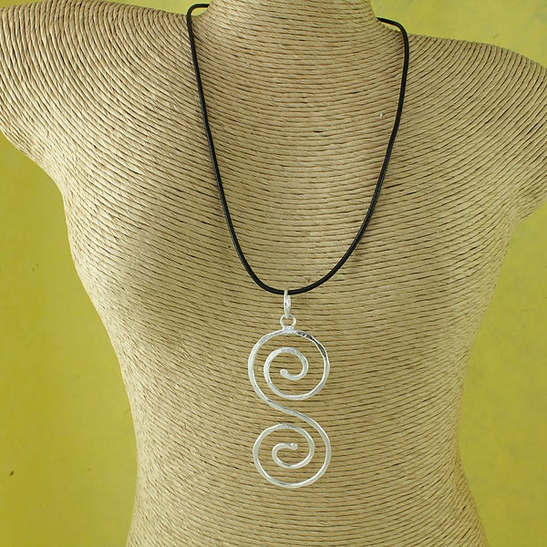 Silver Plated Textured 'S' Swirl Pendant Necklace (India)