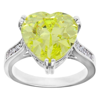 Kate Bissett Silvertone Peridot Heart Cubic Zirconia Fashion Cocktail Ring