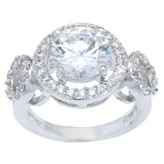 Kate Bissett Silvertone Classic Halo Cubic Zirconia Anniversary Ring