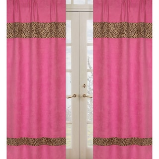 Sweet Jojo Designs Pink, Camel and Chocolate 84-inch Window Treatment Curtain Panel Pair for Cheetah Girl Collection