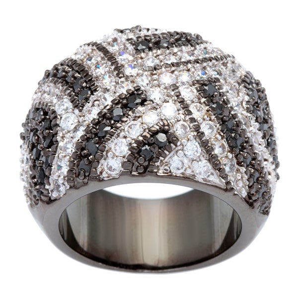 Kate Bissett Silvertone Clear and Black Pave Cubic Zirconia Dome Weave Fashion Ring