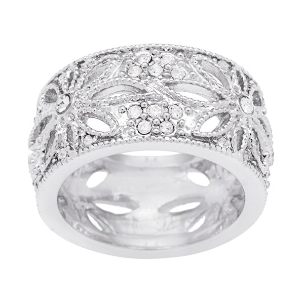Kate Bissett Silvertone Cubic Zirconia Floral Eterntiy Band. Opens flyout.