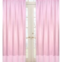 Sweet Jojo Designs Pink Chenille And Satin 84 Inch Window Treatment Curtain Panel Pair For
