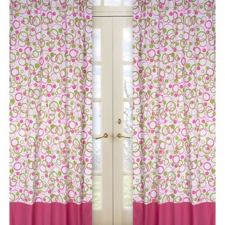Sweet Jojo Designs Hot Pink, Lime Green and White 84-inch Window Treatment Curtain Panel Pair for Mod Circles Collection