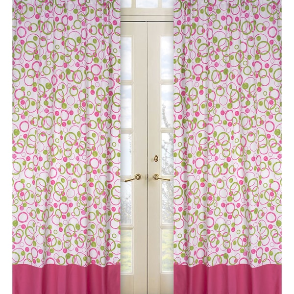 Sweet Jojo Designs Hot Pink Lime Green And White 84 Inch Window Treatment Curtain