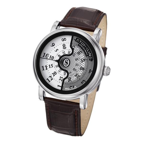 Stuhrling Original Men's Eclipse X Automatic Brown Leather-Strap Watch