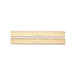 Westcott 30cm Metric and 1/16-inch Scale with Single Metal Edge Wood Ruler