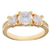 Kate Bissett 14k Gold Overlay Cubic Zirconia Past, Present, Future Anniversary Ring