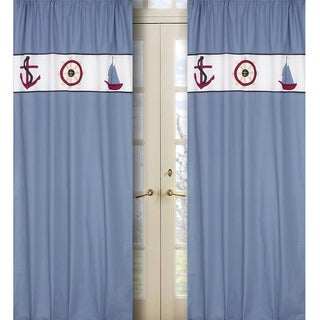 Sweet Jojo Designs Chambray Blue, Navy, White, Red and Yellow Come Sail Away 84-inch Window Treatment Curtain Panel Pair