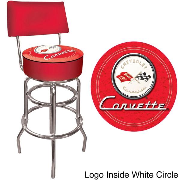 Offically Licensed GM Red Corvette Padded Bar Stool