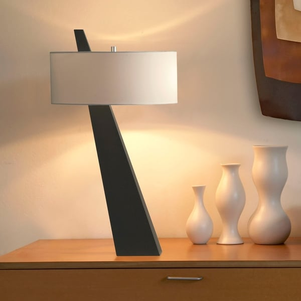 Obelisk Modern Brown Wood Table Lamp 31 in. H x 17 in. W