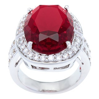 Kate Bissett Silvertone Cushion Cut Garnet Cubic Zirconia Cocktail Ring