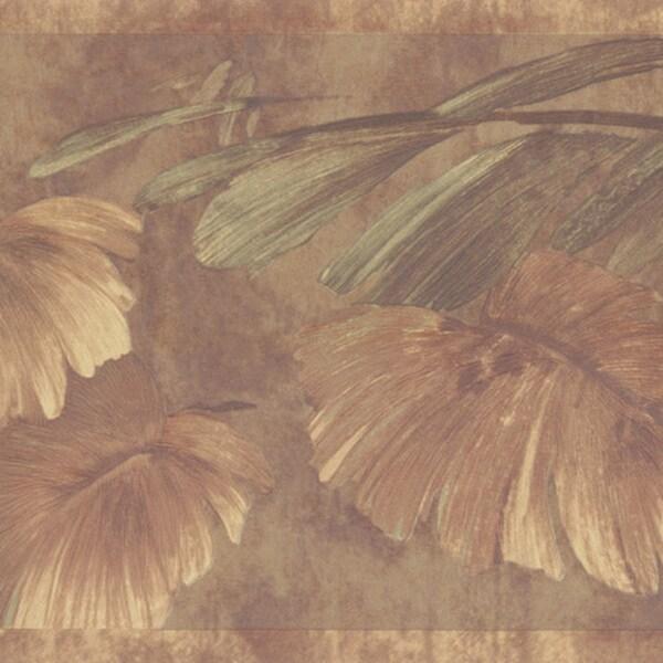 Brown Leaves Border Wallpaper