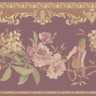 Burgundy Monkey Floral Border Wallpaper
