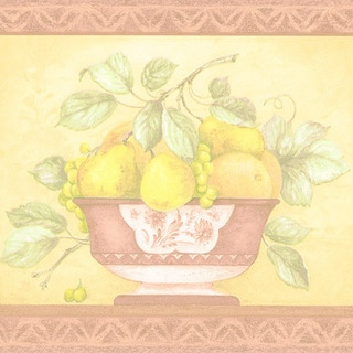 Terra Cotta Fruit Bowl Border Wallpaper