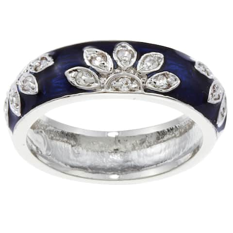 Kate Bissett Silvertone Cubic Zirconia and Blue Enamel Flower Band
