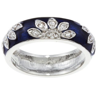 Kate Bissett Silvertone Cubic Zirconia and Blue Enamel Flower Band (4 options available)