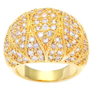 Kate Bissett 14K Gold Overlay Pave Cubic Zirconia Dome Cocktail Ring