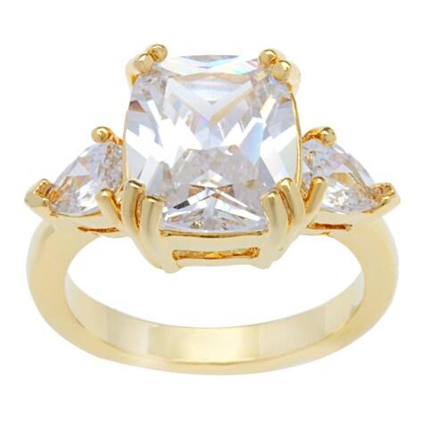 Kate Bissett 14k Gold Overlay Cushion Cut Cubic Zirconia Teardrops Fashion Ring