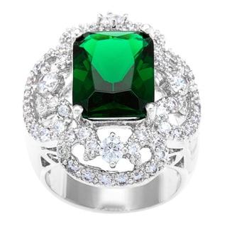 Kate Bissett Silvertone Emerald Cubic Zirconia Cocktail Ring