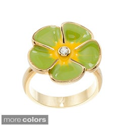 Kate Bissett 14k Gold Overlay Cubic Zirconia and Pastel Flower Small Cocktail Ring