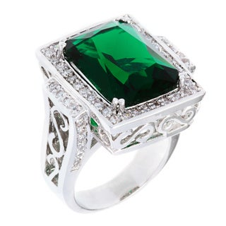 Kate Bissett Silvertone Cushion-cut Emerald Cubic Zirconia Cocktail Ring